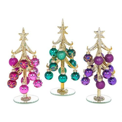 Medium Gold Glass Christmas Trees with Peacock Decorated Baubles